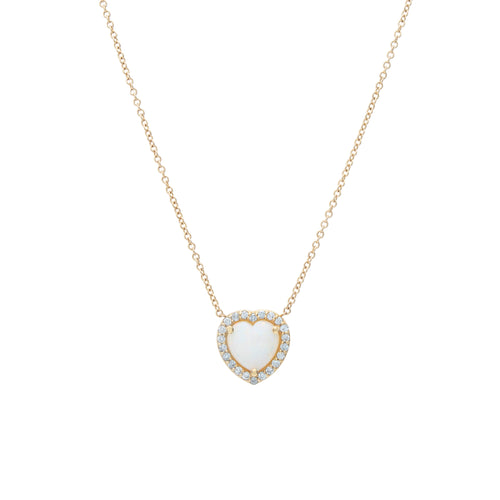 Opal & Pave Heart Necklace