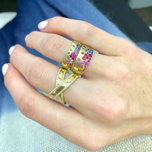 Load image into Gallery viewer, Mardi Gras Sapphire Ring