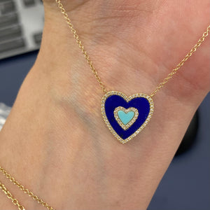 Diamond Border Lapis & Turquoise Heart Necklace