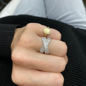 Baguette Diamond Cross Over Ring