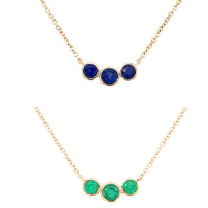 Triple Gemstone Bubble Necklace