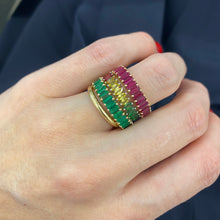 Load image into Gallery viewer, Rainbow Sapphire Marquise Band