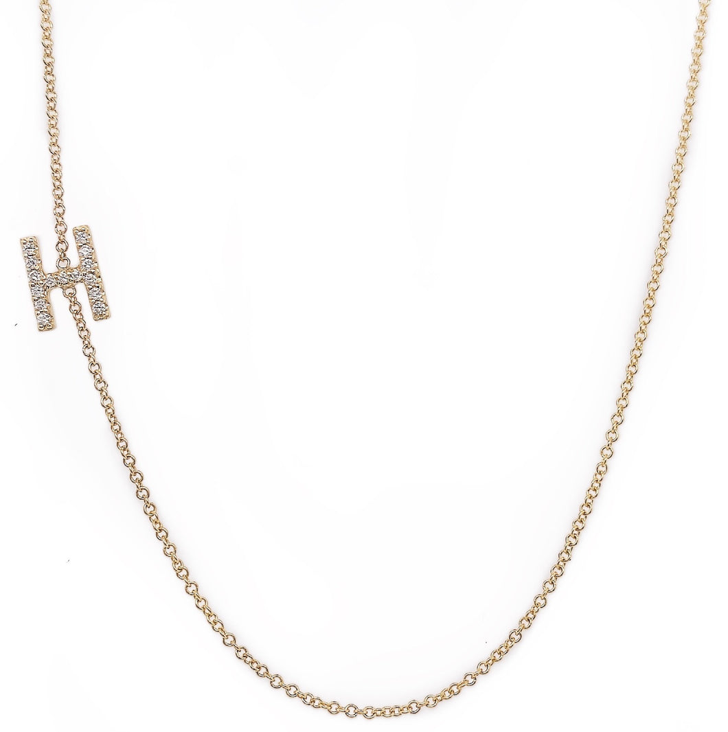 Diamond Asymmetrical Initial Necklace