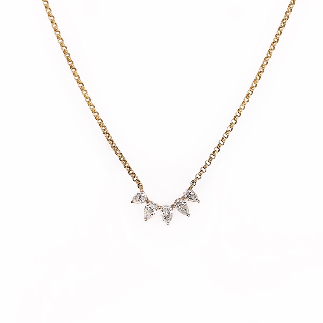 Graduated Pear Diamond Necklace