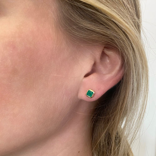 Bezel Set Emerald Studs