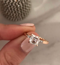 Load image into Gallery viewer, Asscher Cut Diamond Engagement Ring