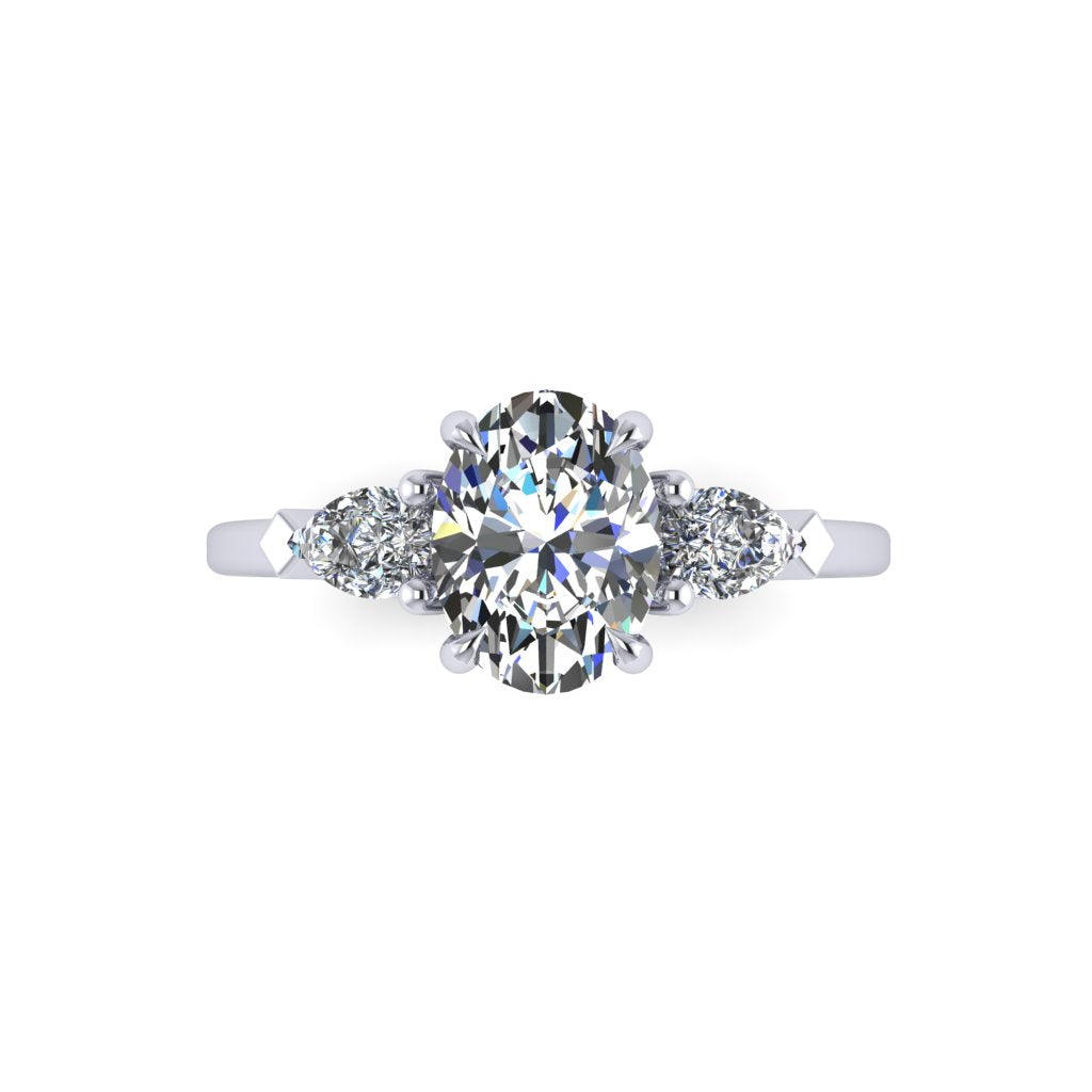 Oval Diamond Ring with Side Pears