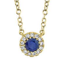 Load image into Gallery viewer, Sapphire Halo Necklace