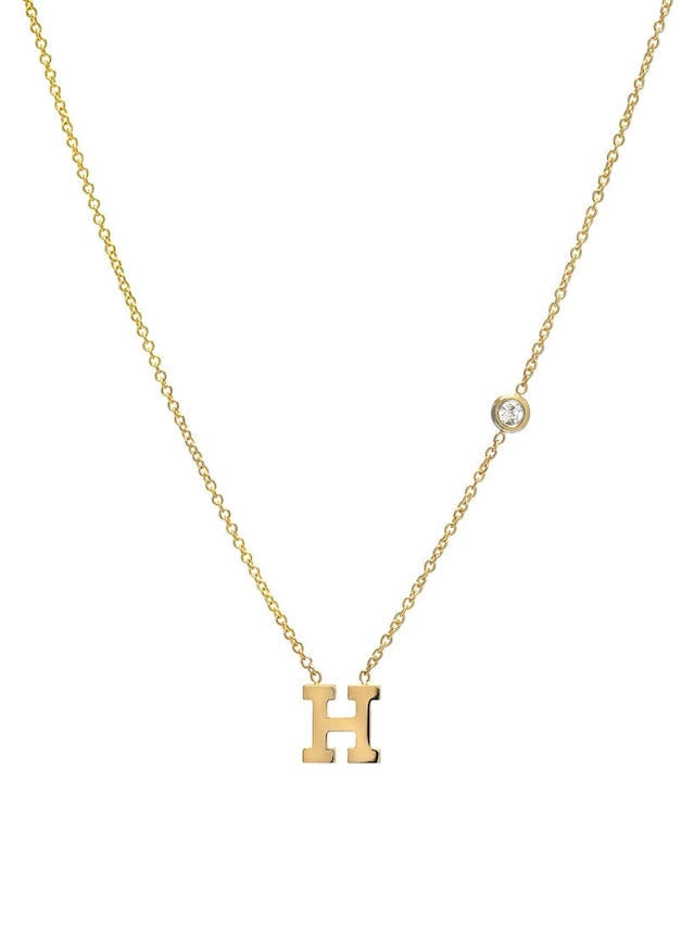 Gold Initial Necklace with Diamond Bezel