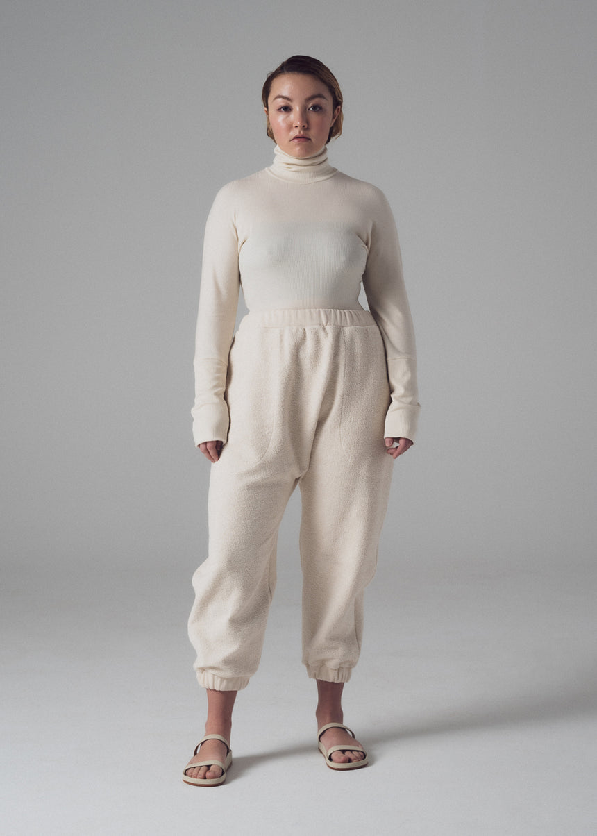 Evan Lounge Pant in Natural French Terry