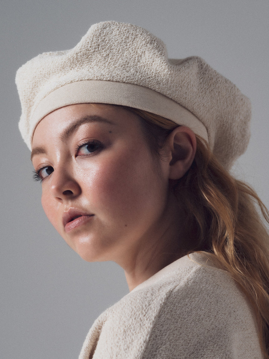 Loop Beret in Ivory French Terry