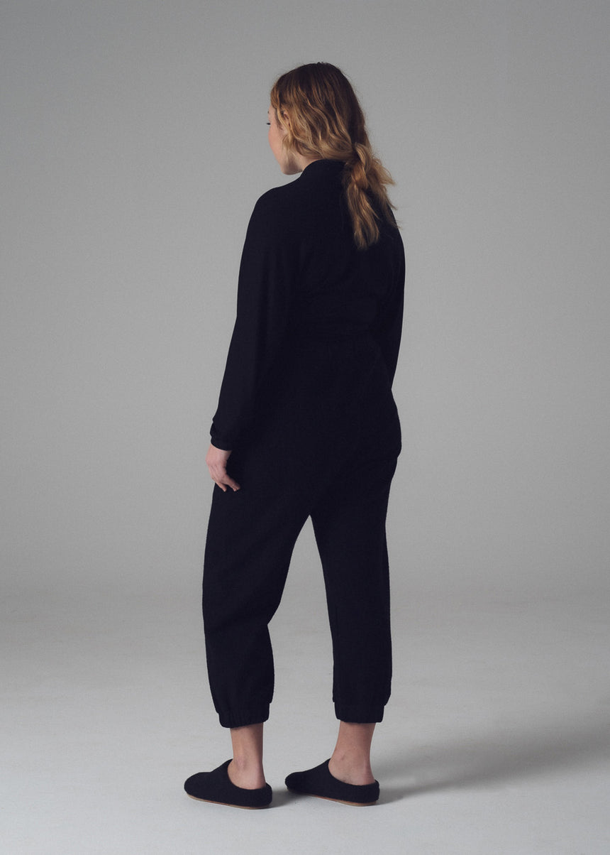 Evan Lounge Pant in Black French Terry