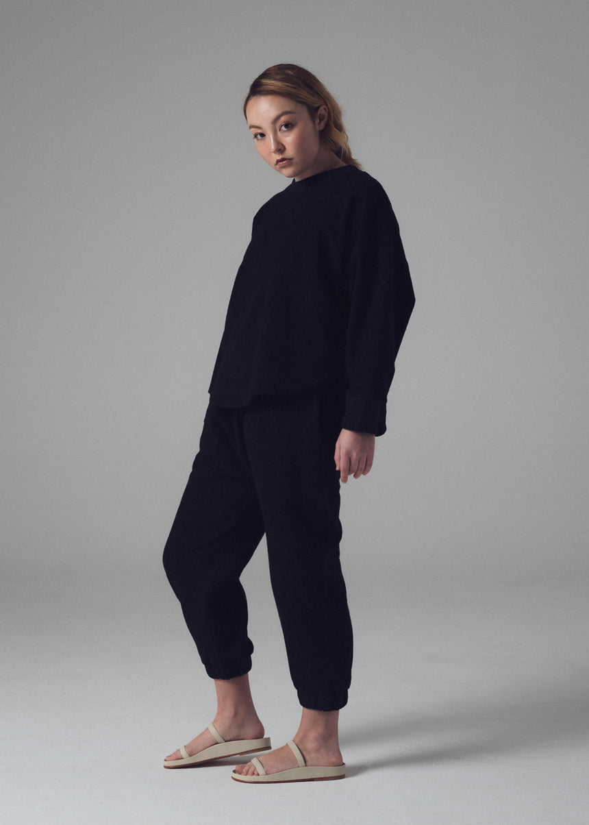 Curve Sweatshirt in Black French Terry