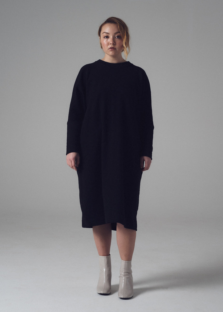 Ramos Sweatshirt Dress in Black French Terry