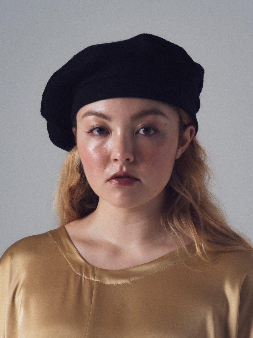 Loop Beret in Black French Terry