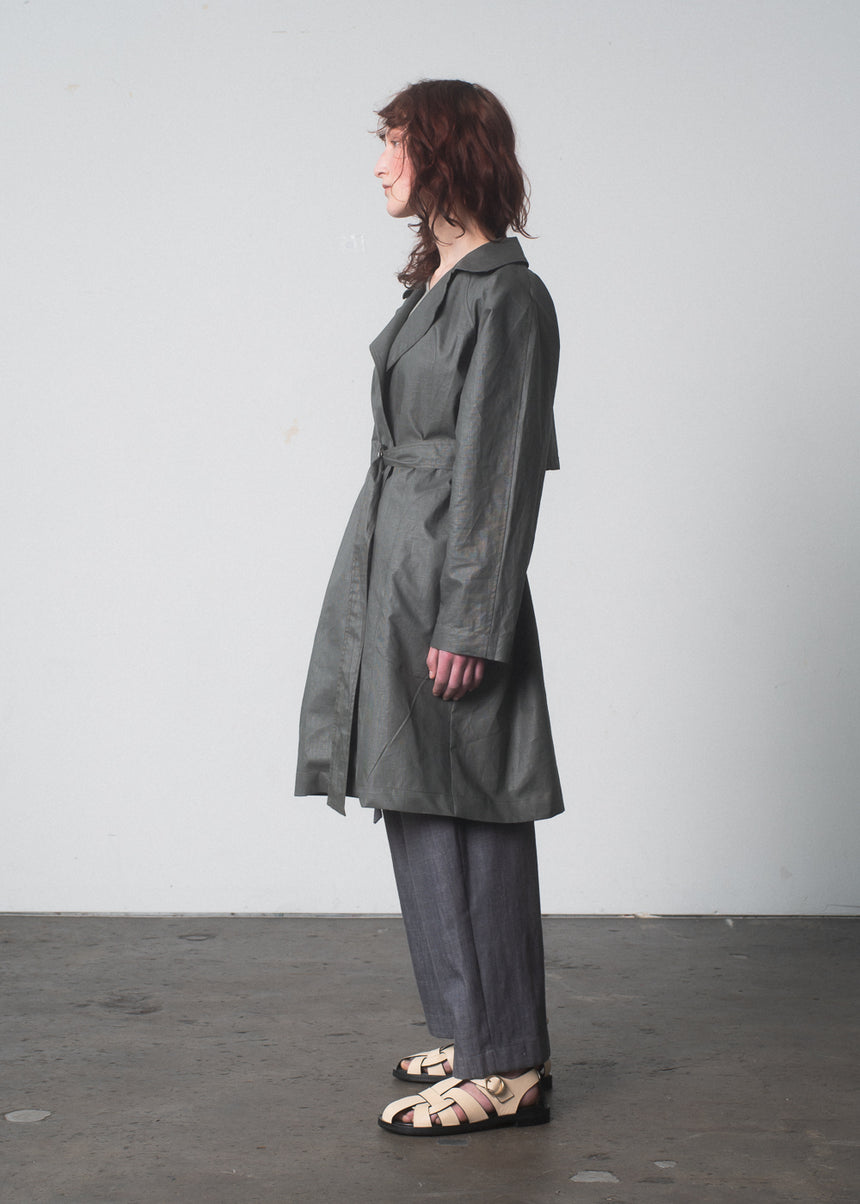 Arcos Trench in Olive Waxed Linen