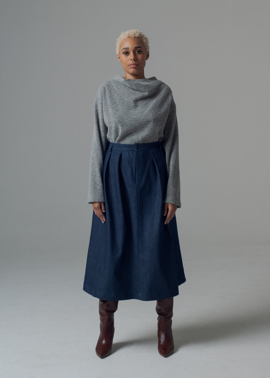 Sylvie Trouser Skirt in Dark Indigo Denim