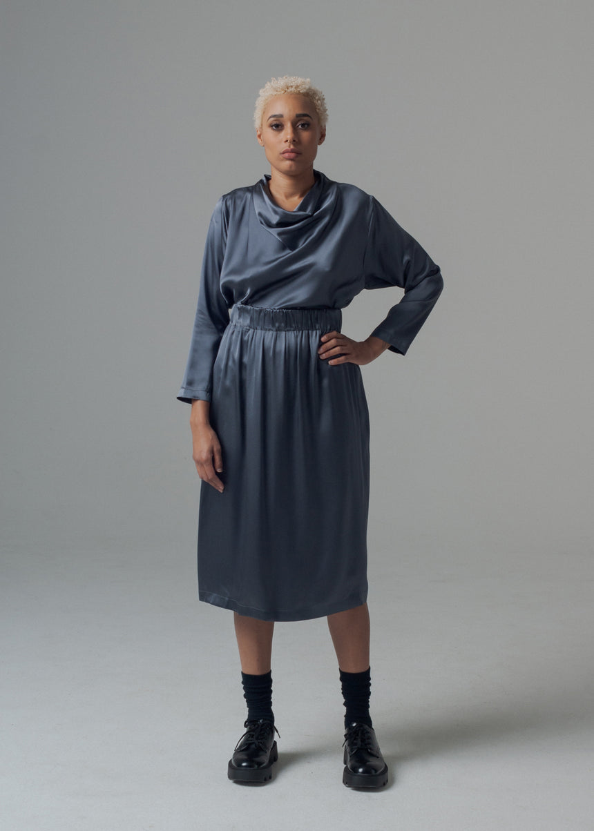 Paola Skirt in Graphite Silk