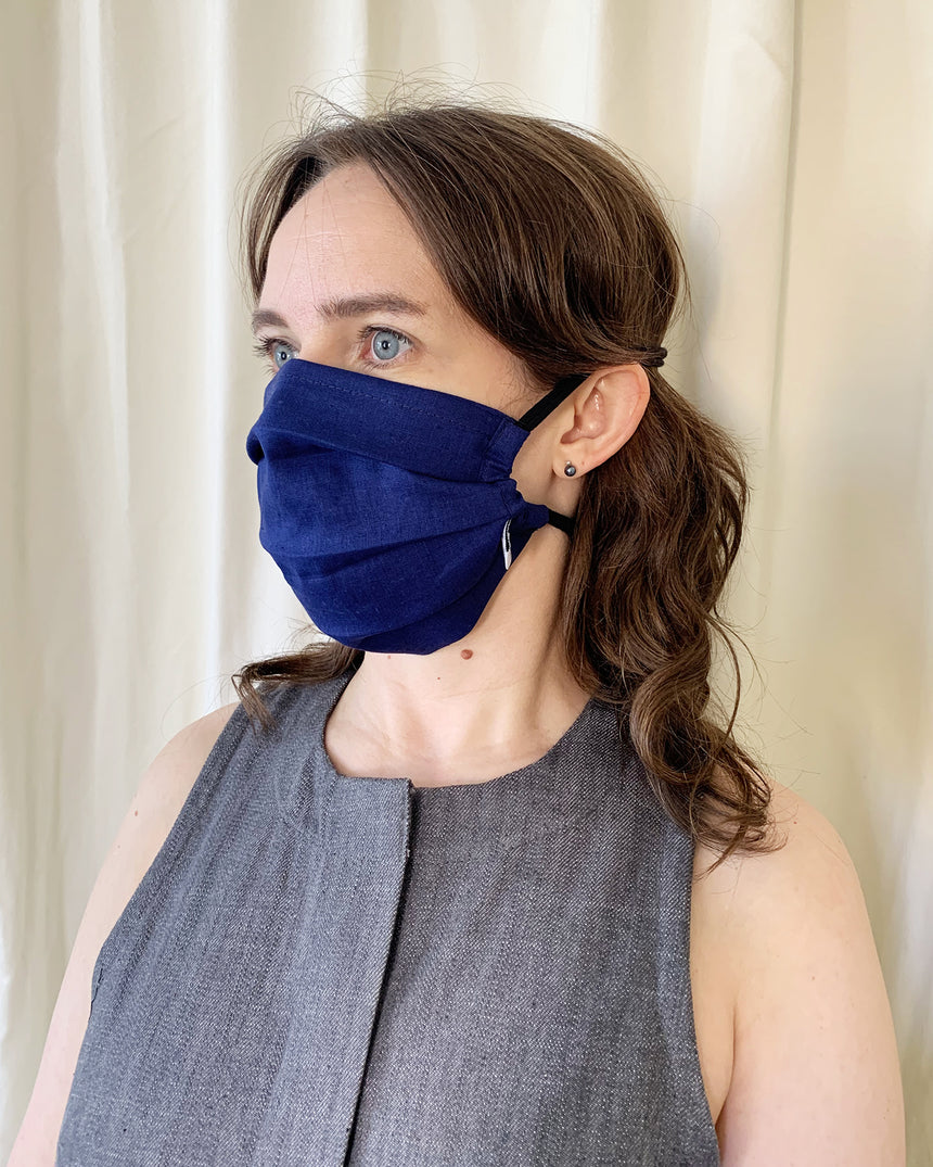 Pleated Face Mask - Cobalt