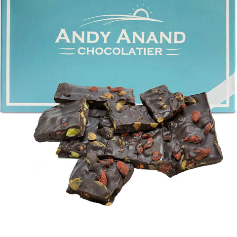 Andy Anand Sugar Free Dark Chocolate with Pistachios and Gogi - 1 lbs