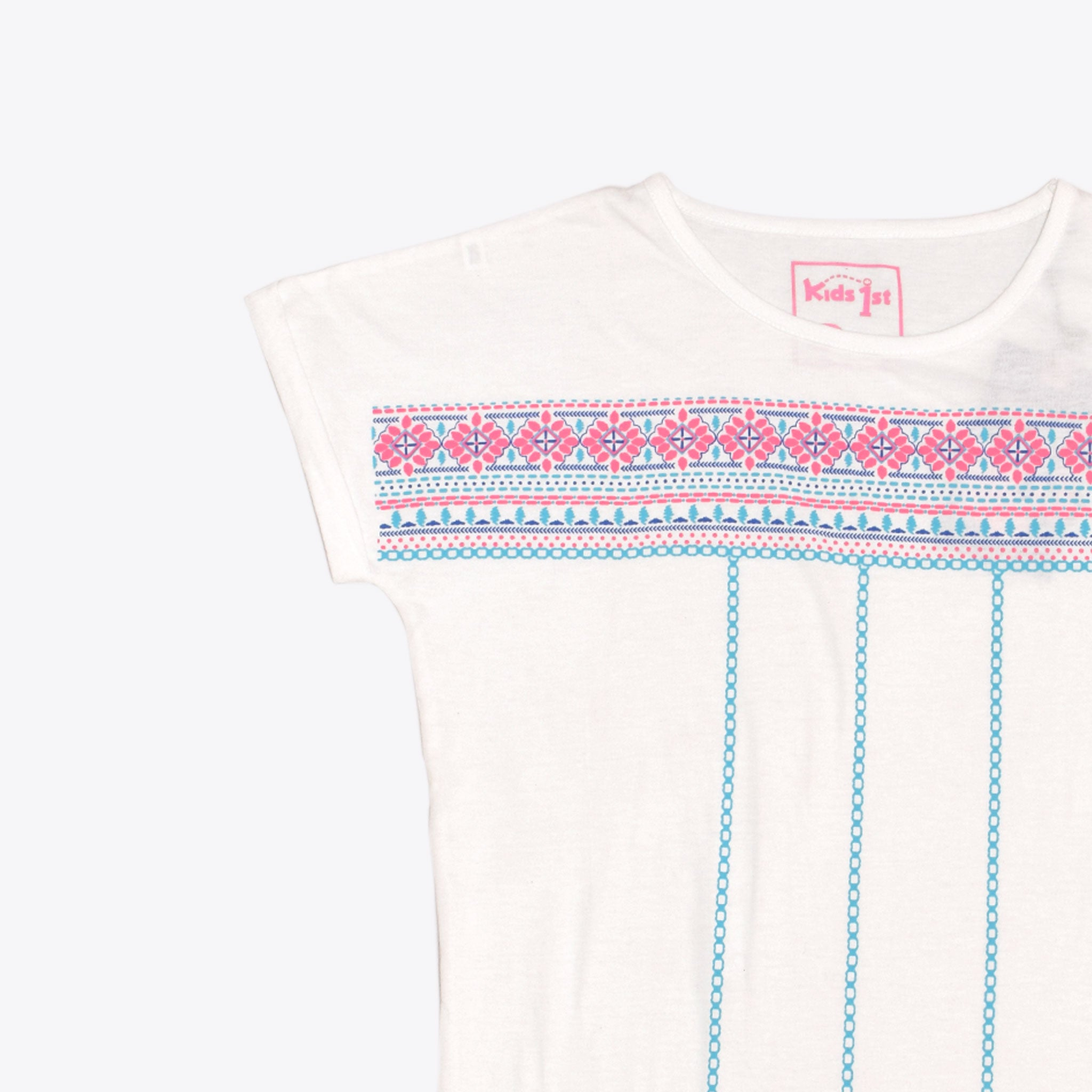 GIRL'S PRINTED TEE - WHITE / EMB PATTERN