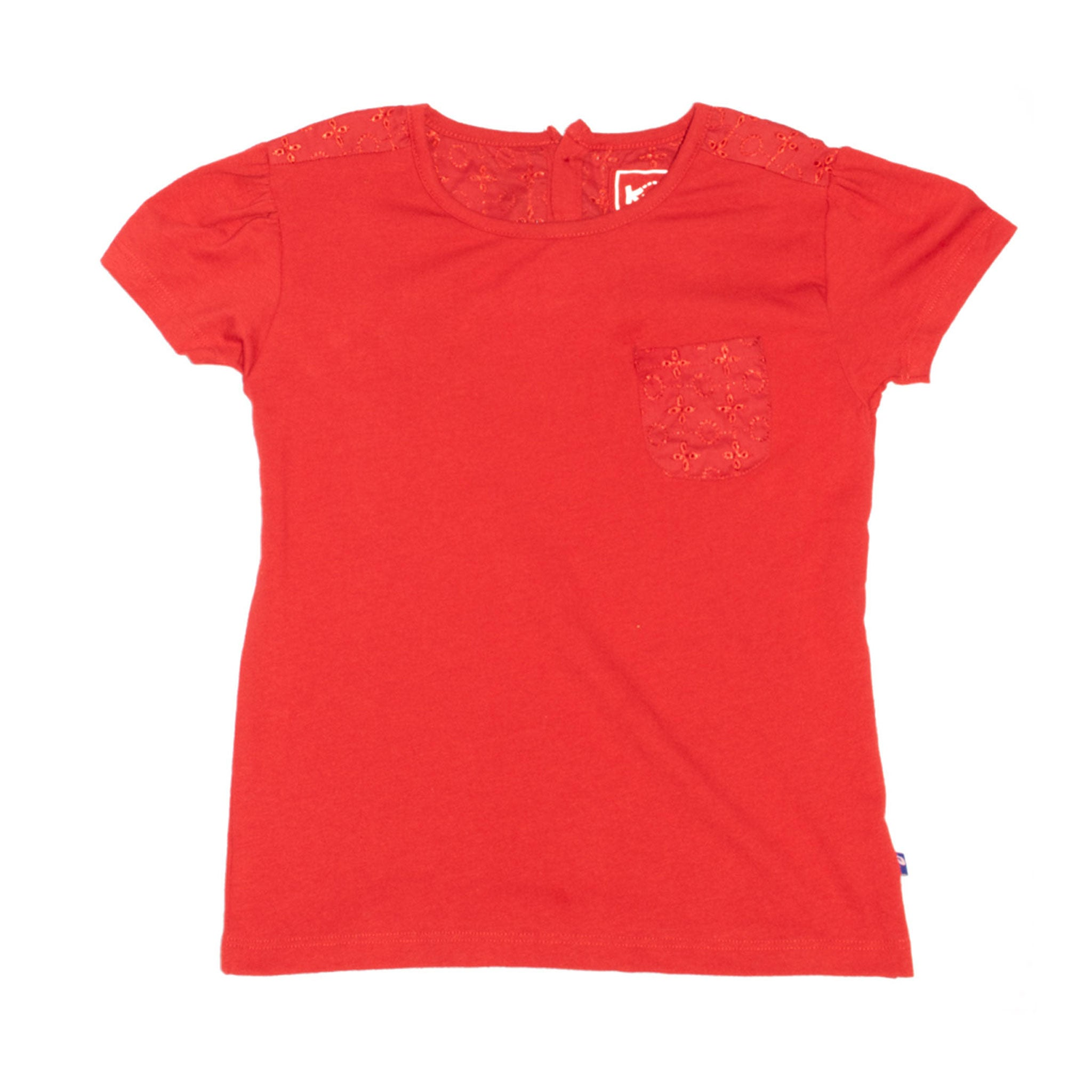 GIRL'S PRINTED TEE - RED / PANEL POCKET