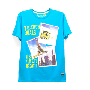 MEN'S S/S PRINTED TEE- SKY BLUE / VACATION GOALS - Export Mall Online Store Sale