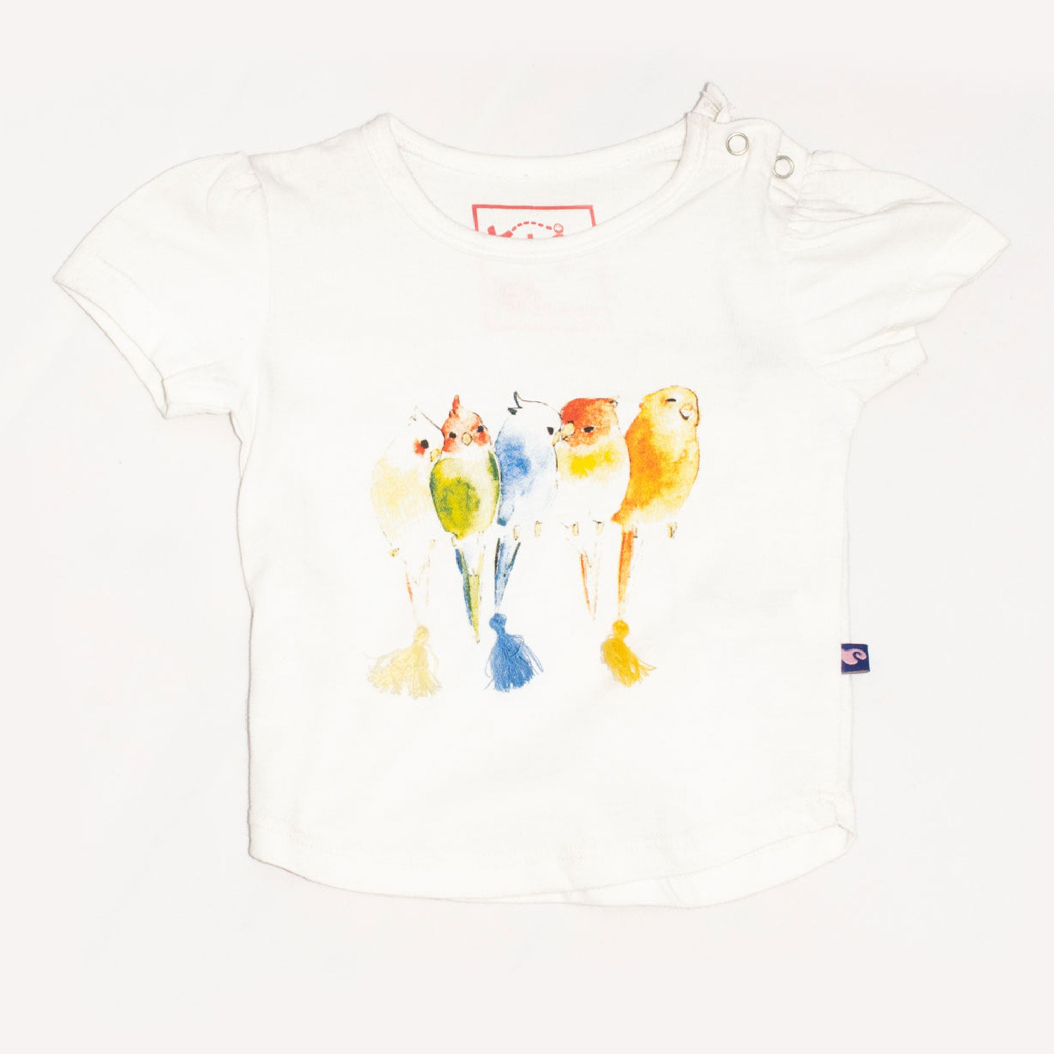 GIRL'S PRINTED TOP - WHITE / MULTI PARROTS