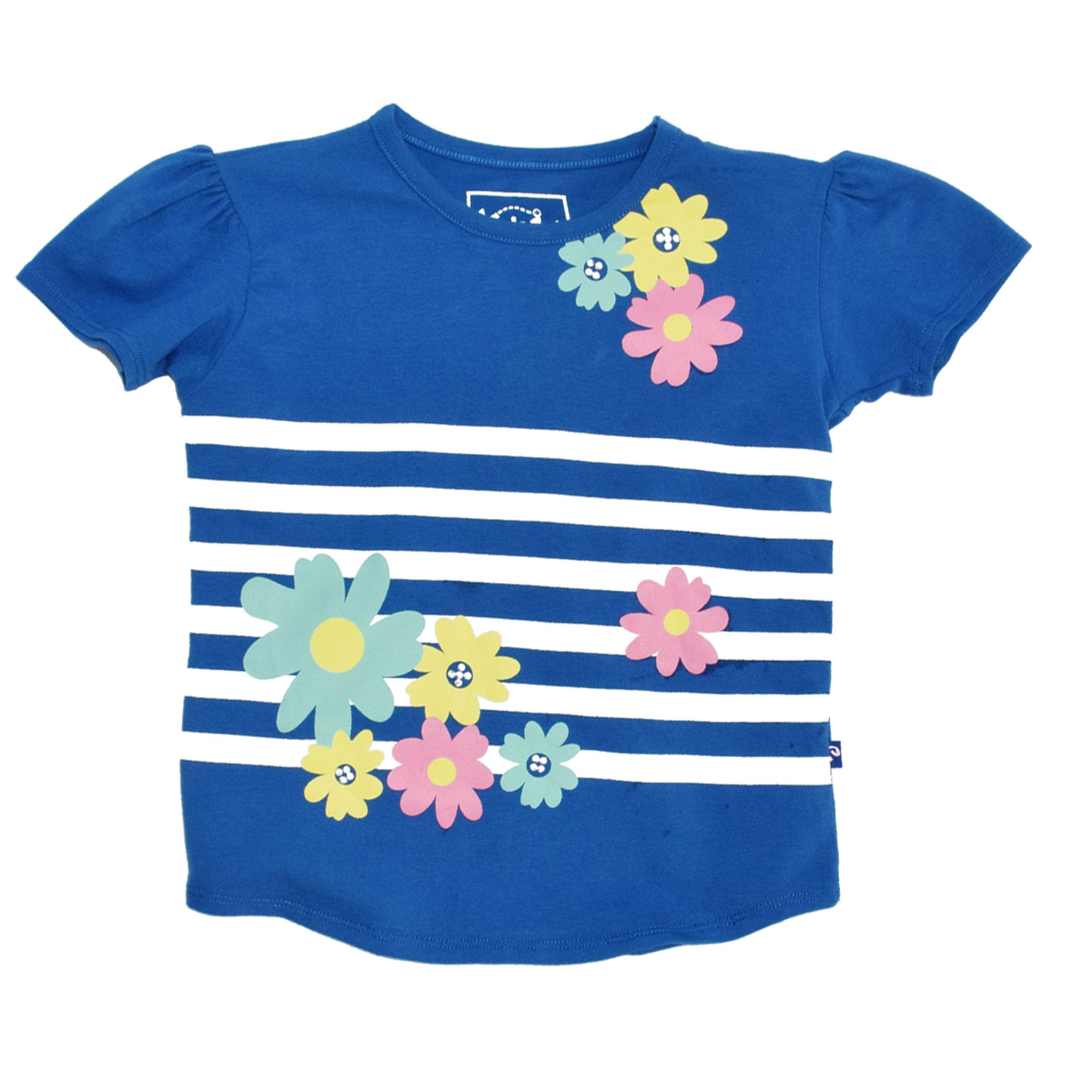 GIRL'S PRINTED TEE - BLUE / FLOWERS WITH STRIPES