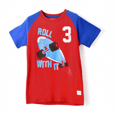 BOYS' S/S RAGLAN TEE - RED / ROLL WITH IT - Export Mall Online Store Sale
