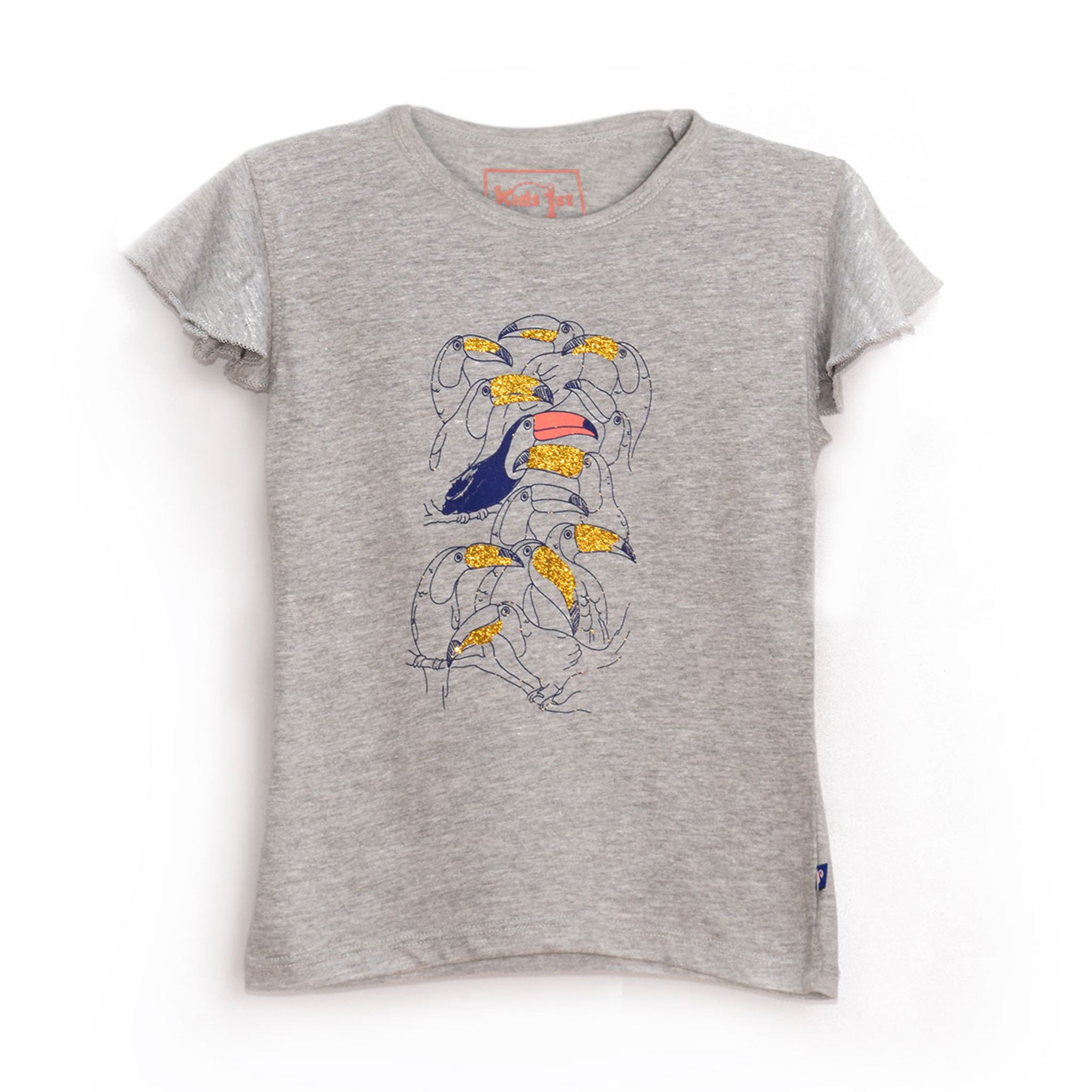 GIRL'S PRINTED TEE - GREY GLITTER TOUCANS