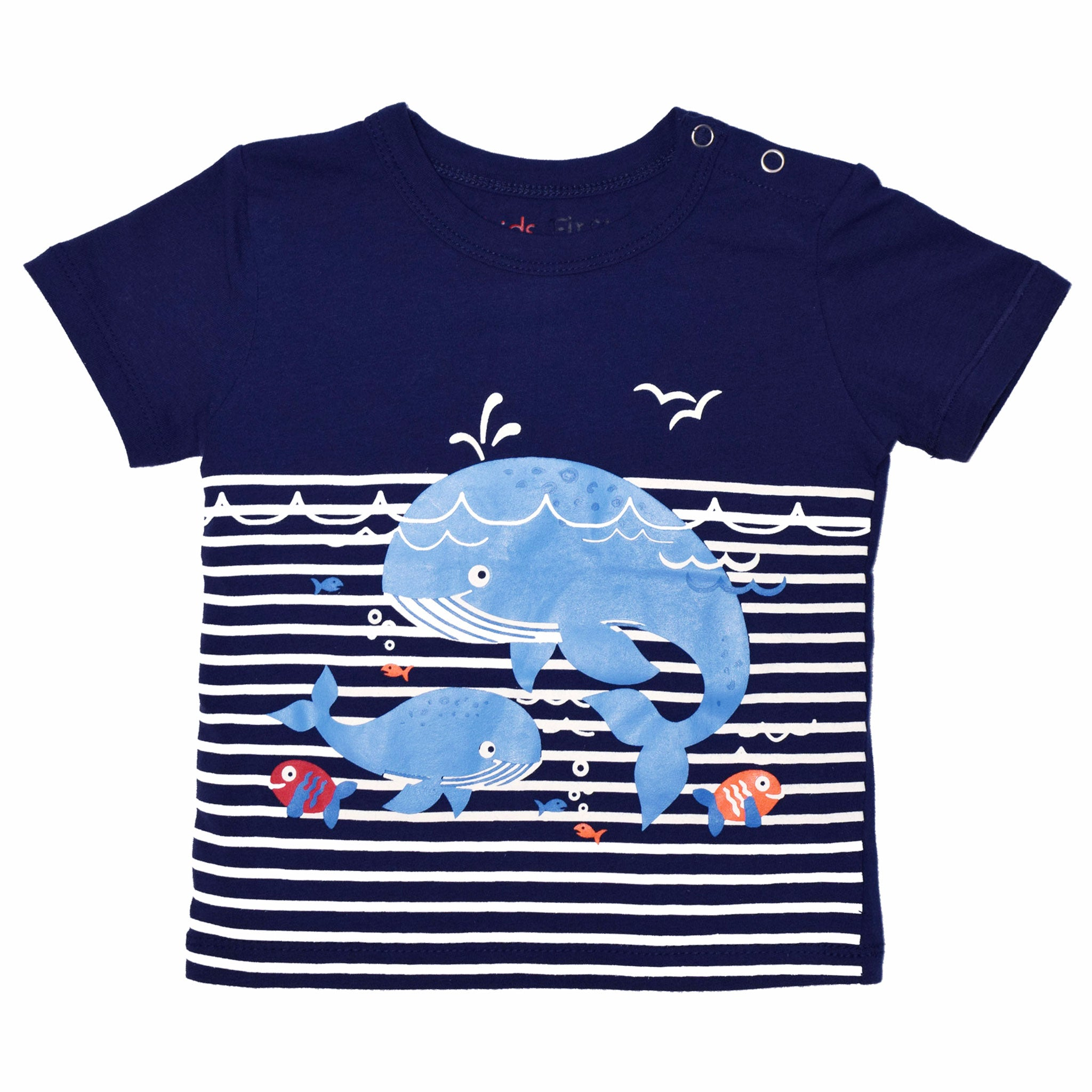BOYS' S/S PRINTED TEE - NAVY / WHALES UNDER WATER