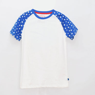 BOYS' S/S RAGLAN TEE - BLUE / WHITE - Export Mall Online Store Sale