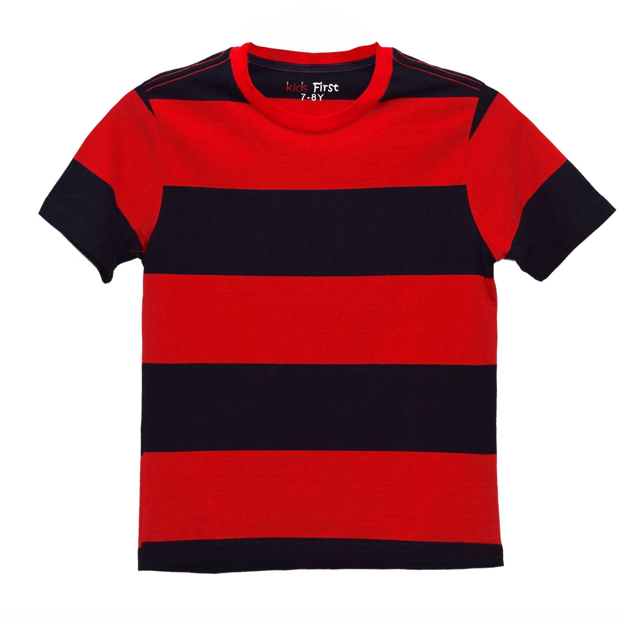 BOYS' S/S YD TEE - NAVY / RED