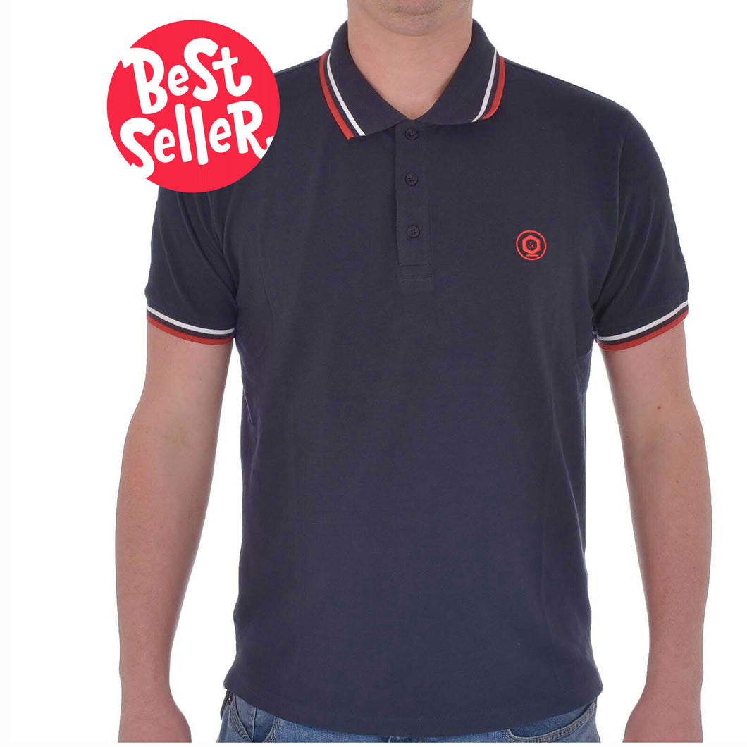 MEN'S S/S POLO-Navy TIPPING-1019 - Export Mall Online Store Sale