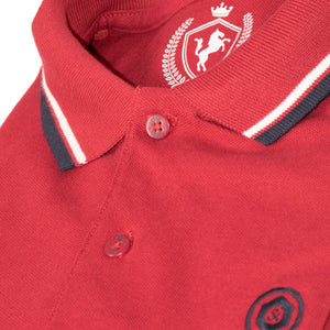 MEN'S S/S POLO-RED TIPPING-1019 - Export Mall Online Store Sale