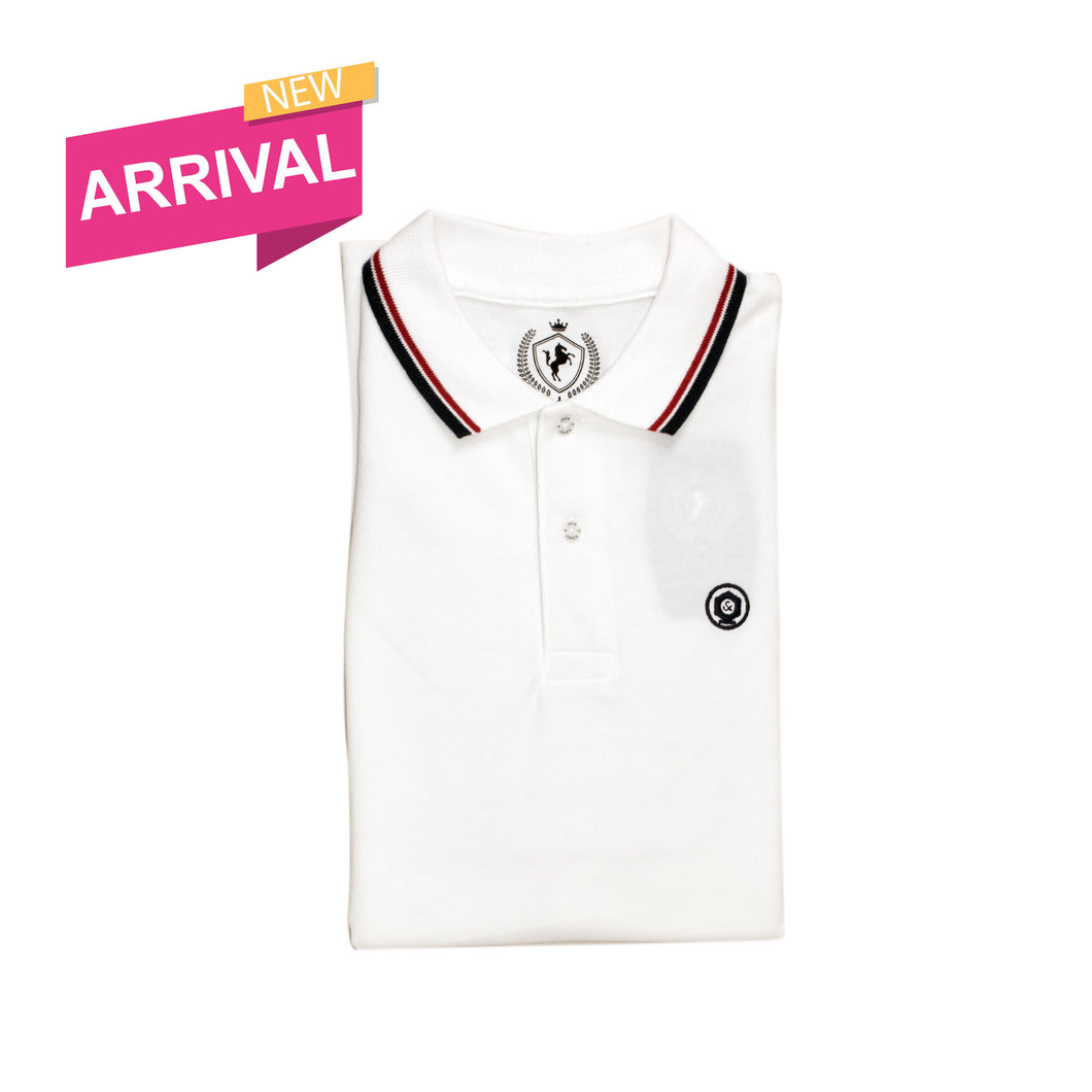 MEN'S S/S POLO-WHITE TIPPING-1019 - Export Mall Online Store Sale