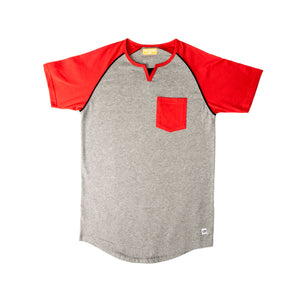 MEN'S SS REGLAN-Grey/Red-EMSS20KM-1007 - Export Mall Online Store Sale