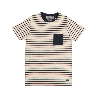 MEN'S S/S TEE-OAT MEAL/NAVY - Export Mall Online Store Sale