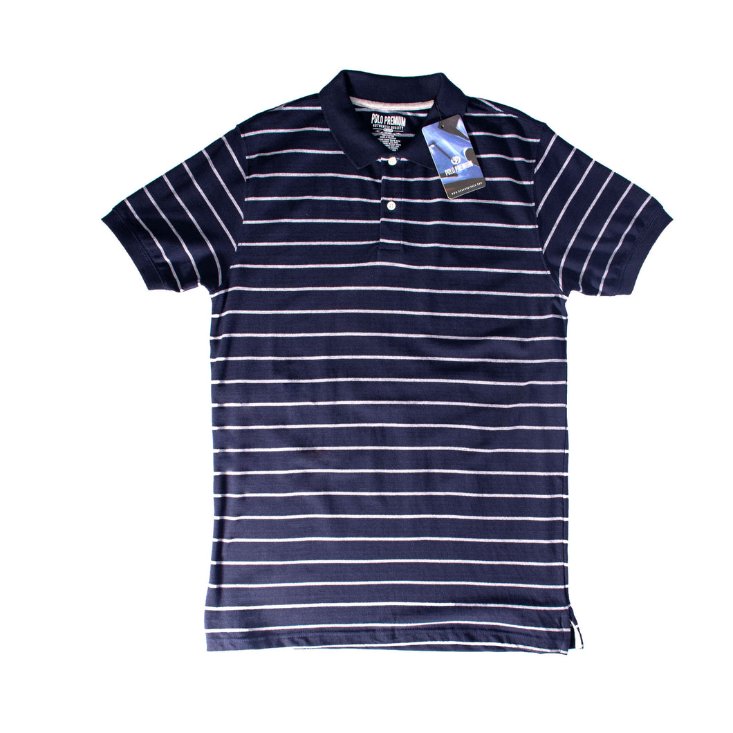 MEN'S S/S NAVY WHITE STRIPE POLO-3728 - Export Mall Online Store Sale