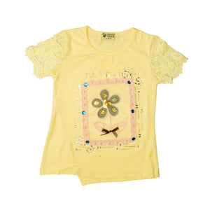 GIRL'S S/S TEE-YELLOW-SSSS20KG-2202 - Export Mall Online Store Sale