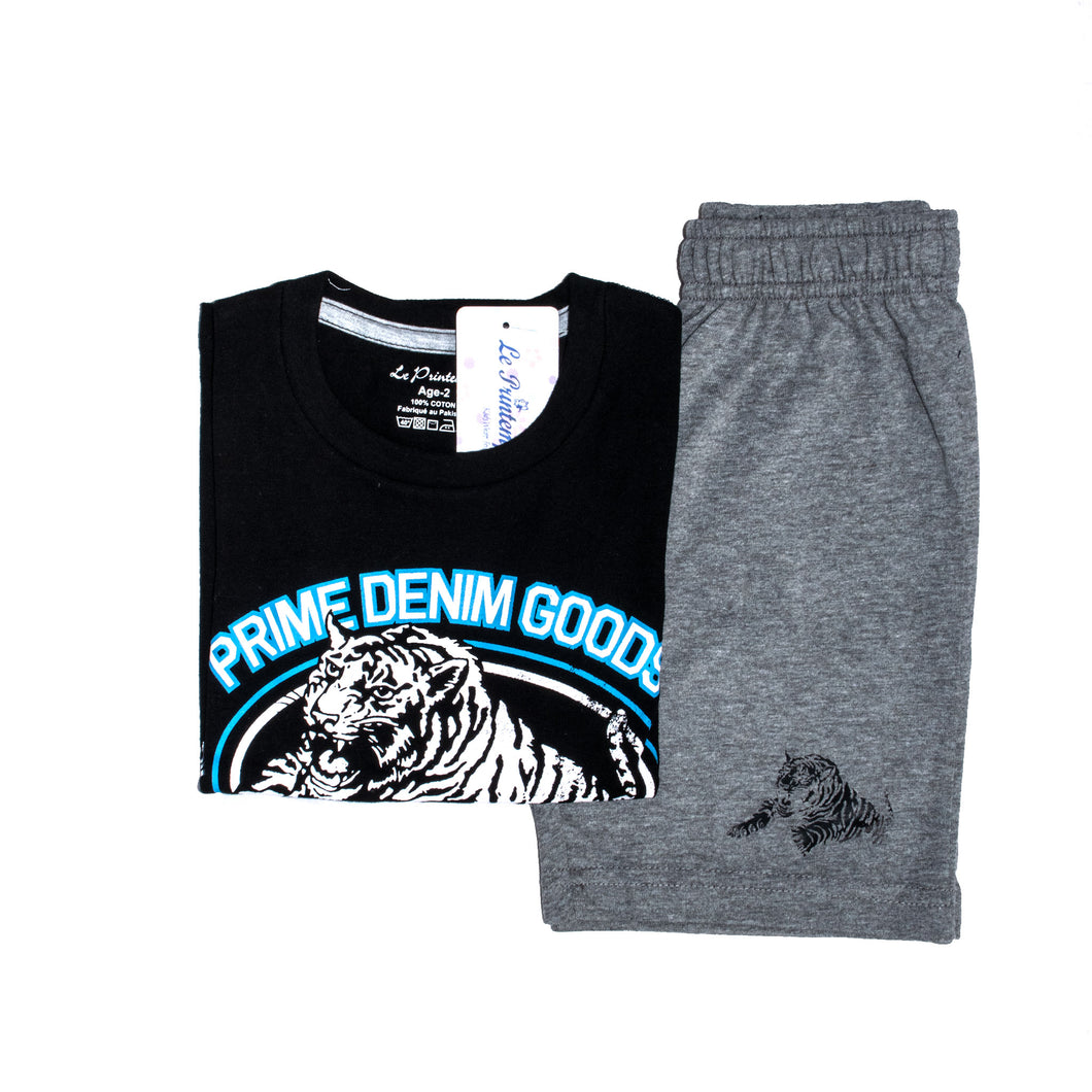 BOYS' GRAPHIC TEE & SHORT SET - BLACK / GREY - Export Mall Online Store Sale