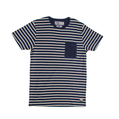 MEN'S S/S TEE-NAVY / OAT MEAL - Export Mall Online Store Sale