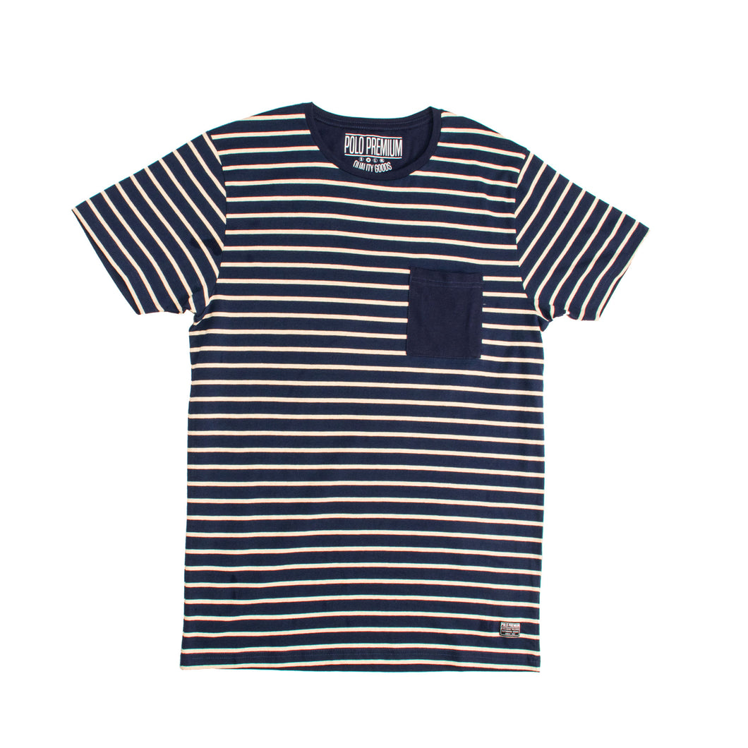 MEN'S S/S TEE-NAVY / OATMEAL-EMSS20KM-1008 - Export Mall Online Store Sale