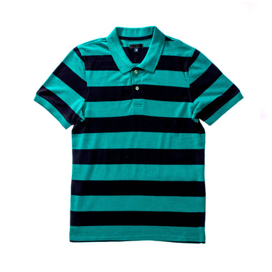 MEN'S S/S GREEN NAVY STRIPE POLO-3731&3736&3709 - Export Mall Online Store Sale
