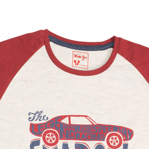 BOYS S/S REGLAN-RED/OATMEAL-1106 - Export Mall Online Store Sale