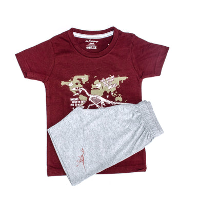 BOYS' GRAPHIC TEE & SHORT SET - MAROON / GREY - Export Mall