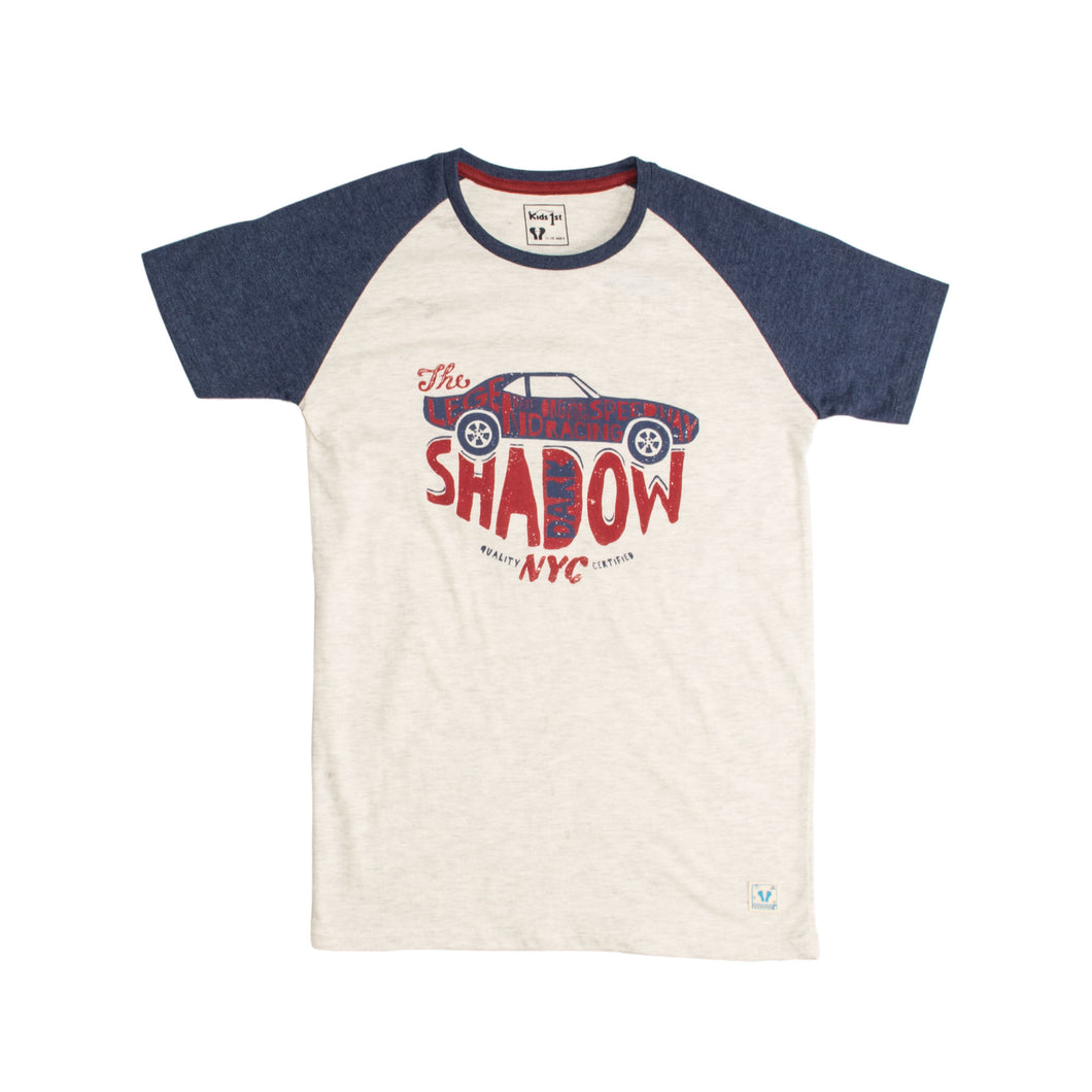 BOYS S/S REGLAN-NAVY/OATMEAL-1106 - Export Mall Online Store Sale