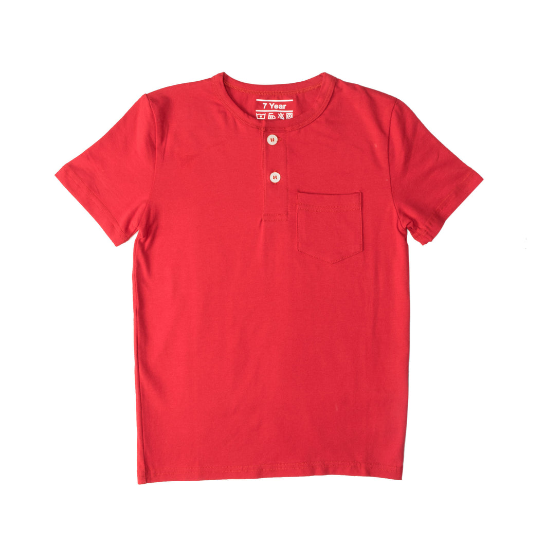 BOY'S S/S HENLEY-RED-SSSS20KB-1108 - Export Mall Online Store Sale