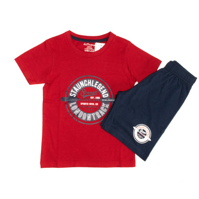 BOYS' GRAPHIC TEE & SHORT SET - RED / NAVY - Export Mall